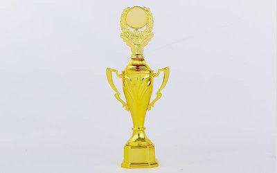 Кубок спортивный с ручками, крышкой и местом под жетон Fame C-8602B, золото пластик, высота 36,5см