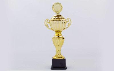 Кубок спортивный, крышкой и местом под жетон Furore C-F7895B, золото пластик, высота 34,5см