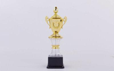 Кубок спортивный с ручками, крышкой и местом под жетон Glory C-K078C золото пластик, высота 27см