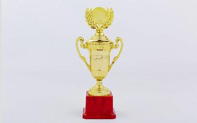Кубок спортивный с ручками, крышкой и местом под жетон C-856, золото пластик, высота 25см