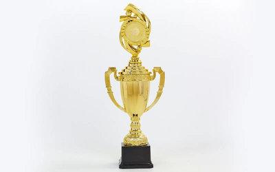 Кубок спортивный с ручками, крышкой и местом под жетон DS897C, золото пластик, высота 41см