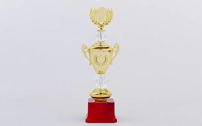 Кубок спортивный с ручками, крышкой и местом под жетон Hit C-K978A, золото пластик, высота 33см
