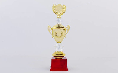 Кубок спортивный с ручками, крышкой и местом под жетон Hit C-K978B, золото пластик, высота 32см
