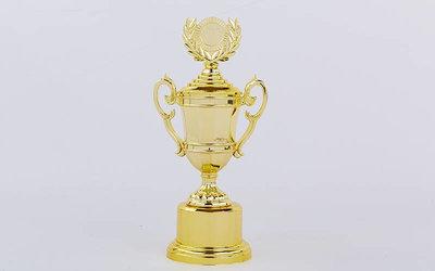 Кубок спортивный с ручками, крышкой и местом под жетон Liberty C-894-2A, золото пластик, высота 31с