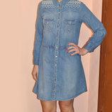 Джинсовое платье рубашка с вышивкой сукня сорочка