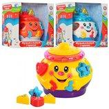 Музыкальная игрушка сортер Горшочек 0915 3 цвета, 6 фигурок с буквами и цифрами