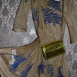 Новый Сарафан-Сетка MANGO c золотой пропиткой и роскошной вышивкой