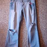 Стильные расклешенные рваные джинсы river island 14 р turkey