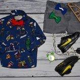 1 - 2 года 92 см Некст Next Фирменная модная рубашка новый год для мальчика