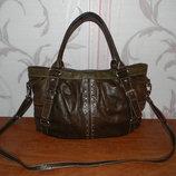 Шикарная коричневая кожаная сумка