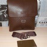 Коричневая сумка мужская Gucci Гуччи на плечо, кожа, Италия
