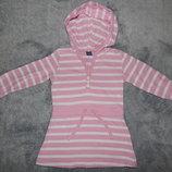 Полосатое бело-розовое трикотажное платье TU с капюшоном на девочку 9-12 мес.