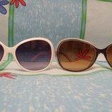 Очки солнцезащитные женские белые и коричневые