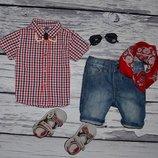12 - 18 месяцев 86 см очень модная фирменная рубашка тенниска для мальчика клетка