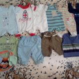 Пакет фирменных вещей летних вещей на мальчика 0-3 мес/новые/б у