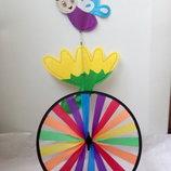 Дет.ветрянная вертушка колесо радуги с бабочкой
