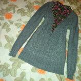 шикарный удлиненный брендовый свитер
