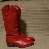 Ярко-Красные мягкие кожаные сапожки - ковбойки Sacha Голландния 37 р
