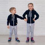 Трикотажный спортивный костюм на мальчика/спортивный костюм для девочки из двунитки с капюшоном черн