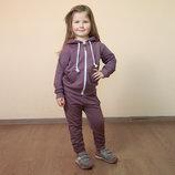 Трикотажный спортивный костюм для девочки из двунитки/кофта с капюшоном и спортивные штаны серые