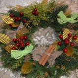 Рождественские, новогодние, праздничные веночки на дверь