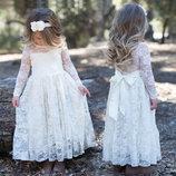Ажурное длинное платье для девочки