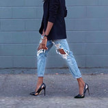 Джинсы бойфренд рваные голубые р29 Fashion Woman высокое качество