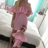 Family look летние платья открытые плечи мама дочка цвета