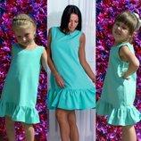Family look летние платья с рюшей мама дочка цвета