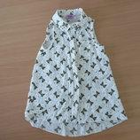 Блузка девочке 3-4 года F&F без рукава лето оригинал бренд