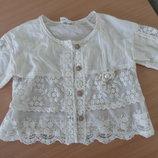 Блузка девочке 9 р I dep Корея белая кружево