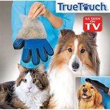 Перчатка для снятия шерсти с домашних животных True Touch