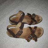 26 см стелька, кожаные босоножки Clarks сандали женские