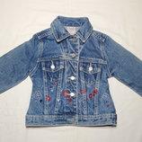 Красивая плотная джинсовая куртка Mackays. На девочку 1,5-2 года. Рост 92 см.