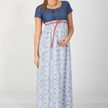 Оригинальное платье для беременных и кормления в пол, синие цветы. Сукня для вагітних та годуючих