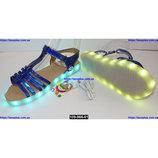 Светящиеся босоножки для девочки, подзарядка, 29-34 размер, 11 режимов LED подсветки, 109-966-61