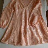 Нежное ажурное платье персиково-розовое, очень красивое