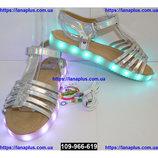 Светящиеся босоножки для девочки, подзарядка, 24-34 размер, 11 режимов LED подсветки, 109-966-619