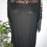 Вискозная блуза с кружевом и бахромой Klass