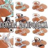 Полная Распродажа 34-41рр Женские босоножки с камнями белые черные пудра бежевые
