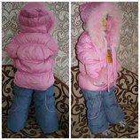 зимний костюм для девочки KIKO кико комбинезон и куртка, 86,92,98,104