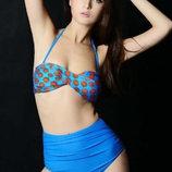 Красивый ретро купальник с завышенной талией голубой В Наличии