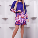 Фиолетовый букет платье Тана-1Кд креп д/р. Цвет принт скл2