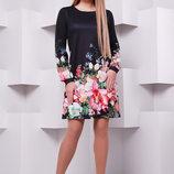 Черный букет платье Тана-1Кд креп д/р. Цвет принт скл2