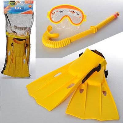Набор для плавания 55954 желтый размер S 35-37, ласты, маска, трубка, в кульке Intex Интекс