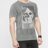 Мужская футболка LC Waikiki ярко-серого цвета с надписью на груди Joker