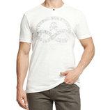 Мужская футболка LC Waikiki ярко-белого цвета с надписью и рисунком на груди