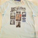 Мужская футболка LC Waikiki светло-голубого цвета с надписью на груди Just nautical