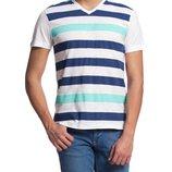 Мужская футболка LC Waikiki светло-серого цвета в сине-голубые полоски