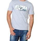 Мужская футболка LC Waikiki бледно-голубоого цвета с надписью и рисунком на груди